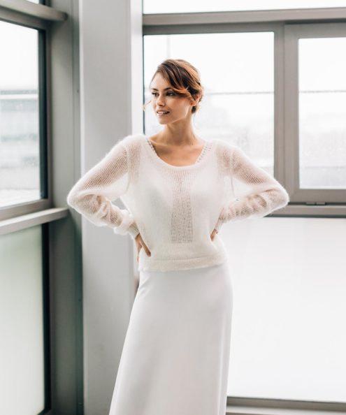 Robe de mariée d'hiver maille et dentelle sur mesure