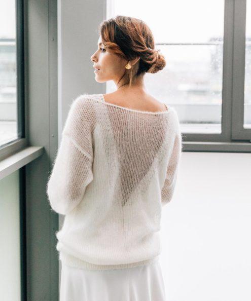 Pull de mariée d'hiver sur mesure paris