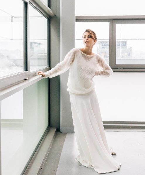 Robe de mariée d'hiver sur mesure créatrice française