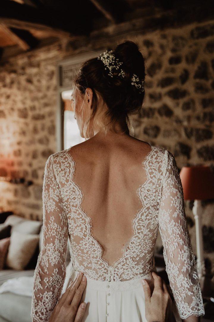 Robe de mariée dentelle et fluide - Clémentine