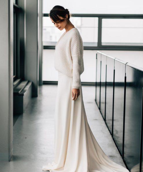 Veste courte de mariée sur mesure Paris